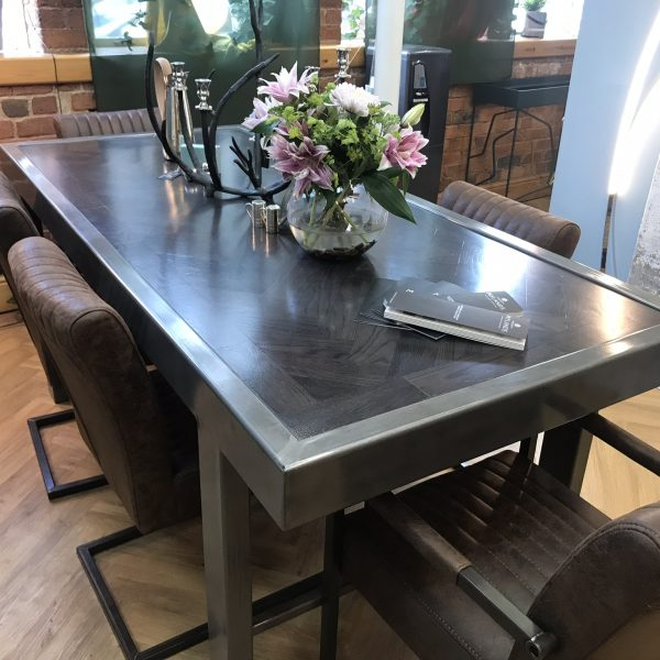 bespoke handmade table with steel frame and solid wood table top