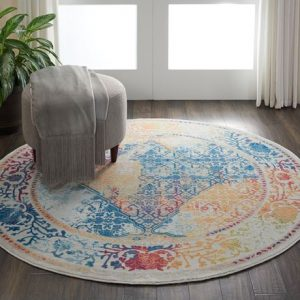 Ankara Global rug in light multicolour round | Persian Rugs | Rug & Table Shop Halifax West Yorkshire | 01422 414459
