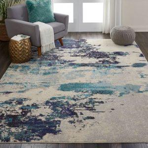 Celestial rug in teal