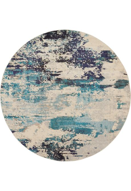 Celestial rug in teal round