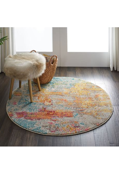Celestial rug in seal round