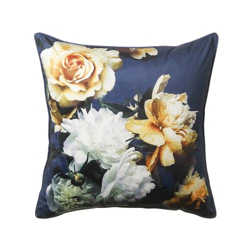 midnight blue floral cushion