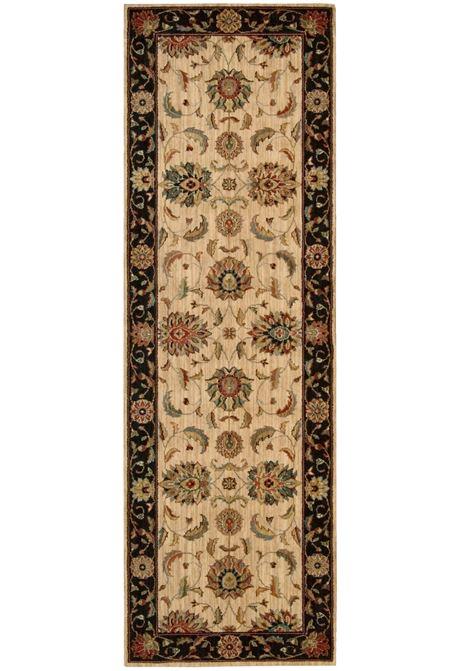 Living Treasures Ivory Black rug in runner style