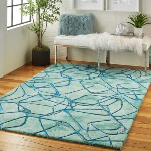 Symmetry rug in blue
