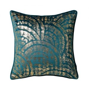 teal gold cushion front pattern