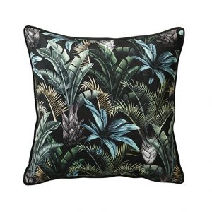 black and green wild flora cushion