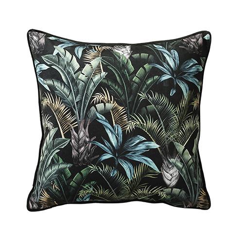black and green wild flora cushion