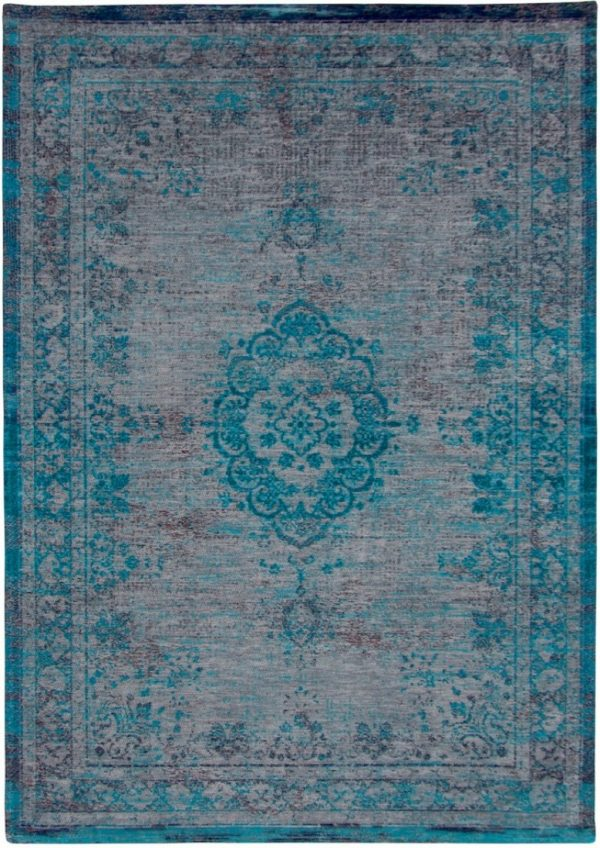 Medaillon rug in colour grey turquoise