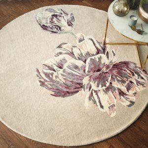 ted baker round floral rug in beige