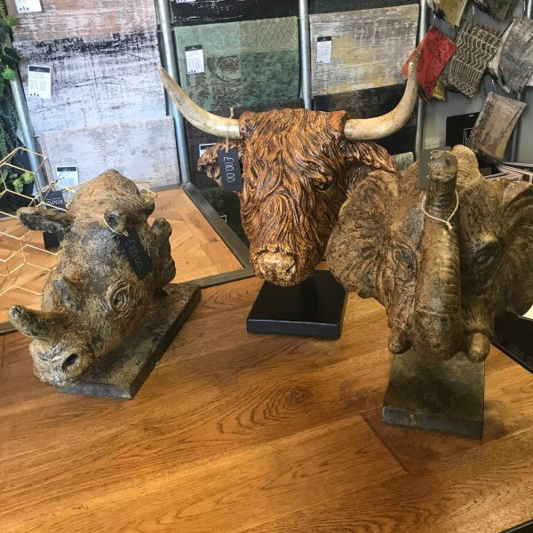 animal head sculptures