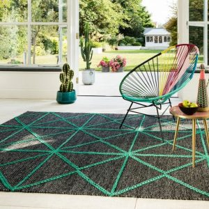 Teal and Grey Prism Rug