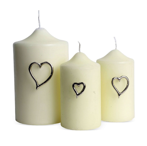 Set of Three Heart Candle Pins